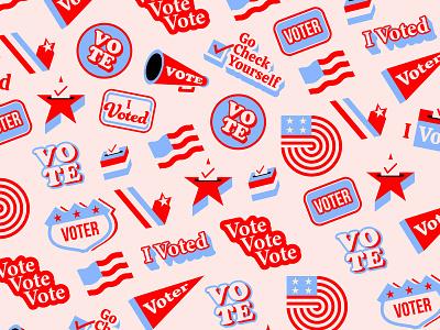 VOTE! vote voter icon patterns election usa typography flat icons branding illustrator illustration vector