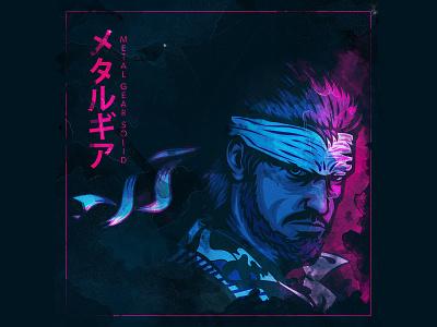 Metal Gear illustration fanart japanese japan vintage playstation5 playstation 4 snake metal gear solid ps5 typography branding illustrator illustration vector