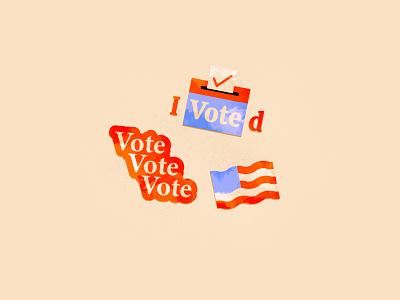 Vote Stickers typography stickers 2020 election go vote vote icons illustrator illustration vector