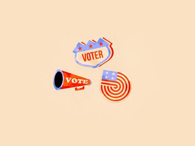 Voter Stickers badge flag america 2020 election go vote vote icons illustrator illustration vector