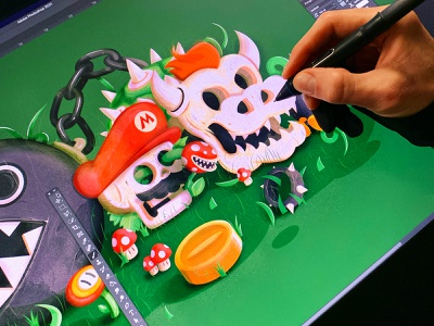 Mario Relics vidogames nintendo mario wacom behindthescene branding the creative pain illustrator illustration vector