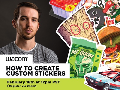 Wacom Livestream!!! wacom webinar livestream stickers branding the creative pain illustrator illustration vector