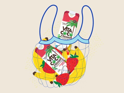 Vita Coco Pressed illustration fruit strawberry banana water coconuts vita coco pressed vita coco pressed typography branding the creative pain illustrator illustration vector