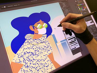 City Girl process pen tool nyc wacom branding the creative pain illustrator illustration vector