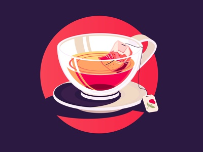 Tea Time flat the creative pain illustrator illustration simple illustration tea