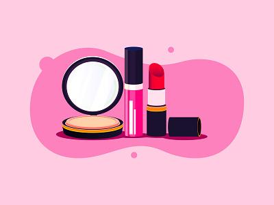 Glam editorial fashion makeup flat branding the creative pain illustrator illustration vector lipstick