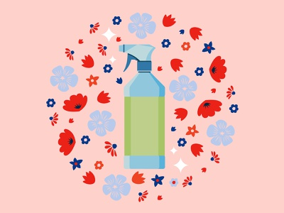 Spring Cleaning nature lines flat branding the creative pain illustrator vector illustration flowers spray supplies cleaning spring