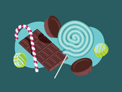 Candy Land chocolate candy flat the creative pain illustrator illustration vector