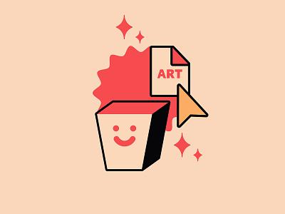 Happy Art art happy trash simple logo typography branding the creative pain illustrator illustration vector