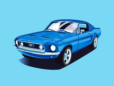 '67 Mustang icon branding the creative pain illustrator illustration vector classic cars ford