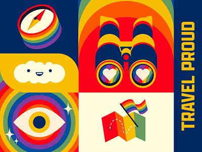 Travel Proud pride month lgbtq pride logo branding the creative pain illustrator illustration vector