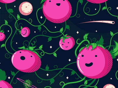 Space Tomatoes stars planets produce pink tomatoes space tomatoes the creative pain illustrator illustration vector