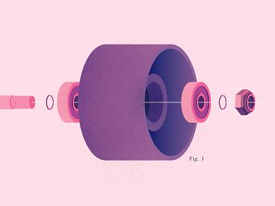 Skate Assembly bearings wheels skateboarding the creative pain illustration vector