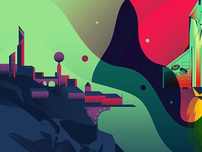 Prepare for launch future city space launch rocket branding the creative pain illustrator illustration vector