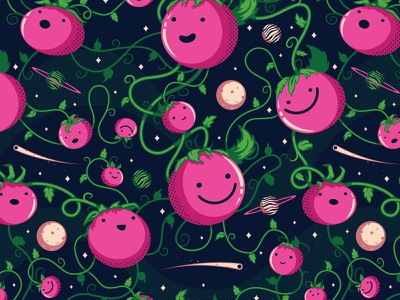 Space Tomatoes Pattern pink stars planets tomatoes space the creative pain illustrator illustration vector