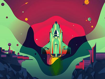Trust The Process future city rocket space computer dell the creative pain illustrator illustration vector