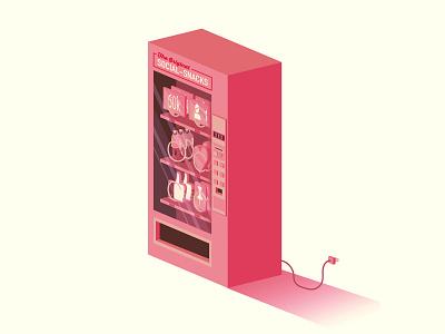 Social Snacks isometric vending machines social media branding the creative pain illustrator illustration vector
