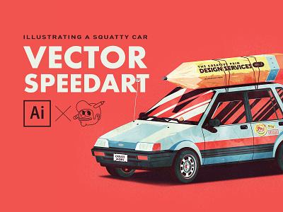 Squatty car speedart squatty cars speed art branding the creative pain illustrator illustration vector