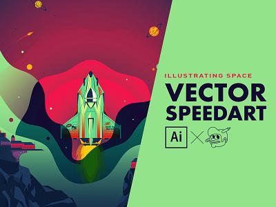 Creative Rocket {Illustrator process} speedart space rocket ship dell the creative pain illustrator illustration vector