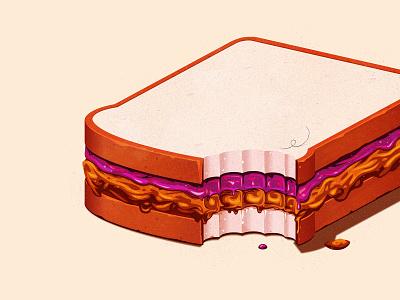 Simple times jelly penutbutter pbj sandwich the creative pain illustrator illustration vector