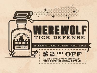 Day 14: Tick warewolf vintage ad inktober tik the creative pain illustrator illustration vector
