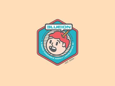 Blue Ion Badge pencilhead thick lines badge