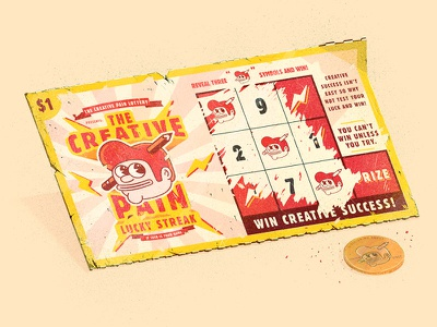 The Creative Pain lotto  design penny money ticket scratch off wining lotto