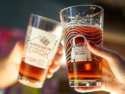 Grok Glasses label lost space beer keg