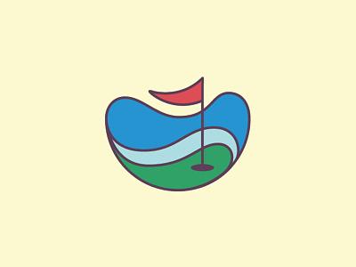 tee-off wolf illustration golf sports flag smooth