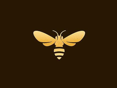 Bee Golden pollen bugs honey logo icon golden bee
