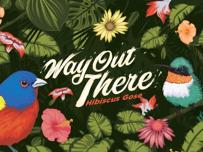 Way out there Beer label leaves label beer gose jungle bird type nature outpost feather wild