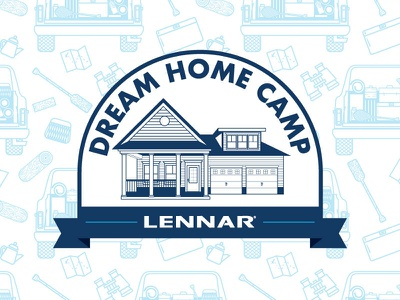 Lennar Summer Promo hikiing camp binoculars view maps cars vector pattern camping summer
