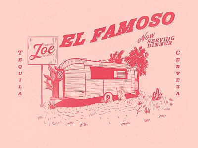 Possum Joes trailer drinks food possum branding lines flat illustration illustrator vector