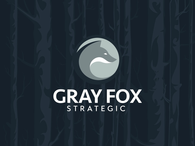Gray Fox strategic strategic lawyer wildlife forest woods fox design nature illustrator branding logo vector illustration