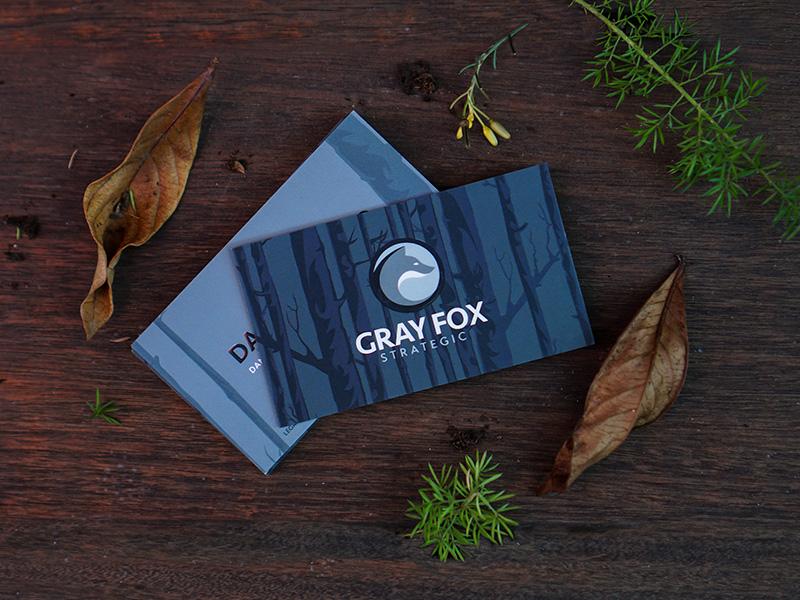 Gray Fox strategic biz cards type design fox print businesscard moo typography logo nature vector branding illustrator illustration icons
