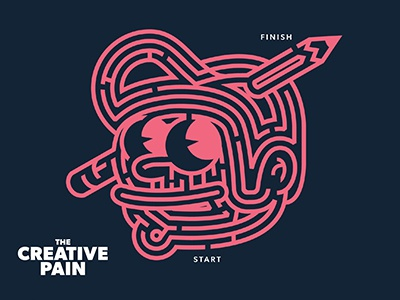 The Creative Pain is the Maze typography branding puzzles maze logo design the creative pain vector illustration