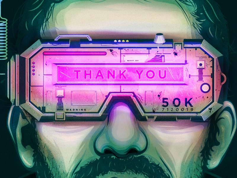 Thank you! bladerunner tron the grid goggles vr logo branding typography vector illustrator the creative pain illustration