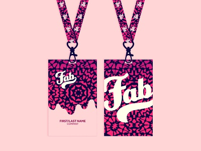 FAB Badges fab confrence lanyard badge pass design typography icons illustrator vector illustration