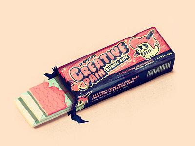 Creative Pain Bubble Gum bubblegum food typography branding the creative pain illustrator vector illustration