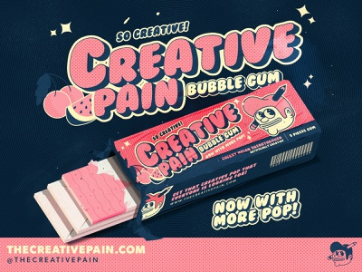 The gum with more pop! bubblegum typography design branding the creative pain illustrator illustration vector