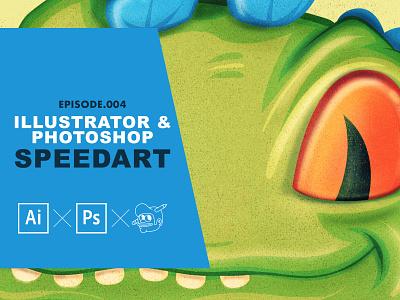 Reptar speedart process tutorial rugrats reptar design icons the creative pain illustrator illustration vector