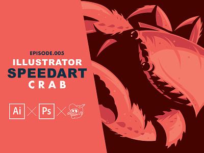 Illustrated Crab Speedart [Adobe Illustrator] crab typography simple nature branding design icons the creative pain illustrator illustration vector