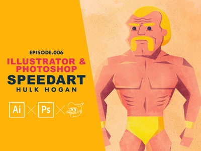 Hulk Hogan Speed art speedart tutorial wrestling wwf hulk hogan icons the creative pain illustrator illustration vector