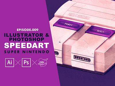 Super Nintendo Speedart [Adobe Illustrator & Photoshop] process tutorial typography video games super nintendo nintendo branding icons the creative pain illustrator illustration vector