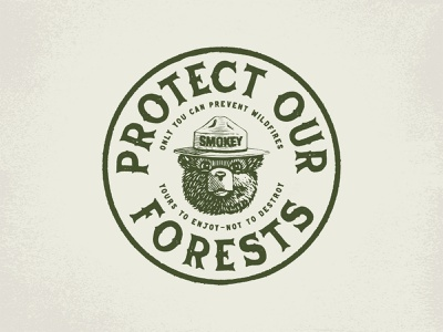 Smokey Bear - Protect Our Forests Badge apparel apparel design concept branding concept forests bear illustraion design typography textured illustration distressedunrest distressed branding badge design badge