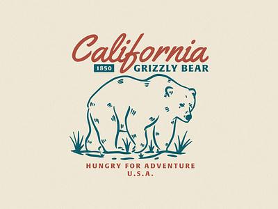 California Grizzly Bear bears california bear vector branding typography design textures truegrit vintage design textured vintage illustration