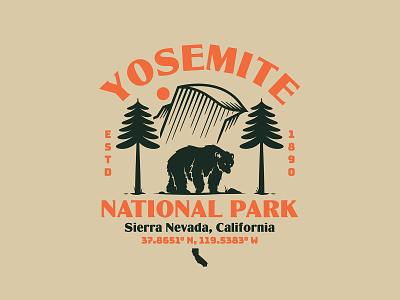 Yosemite National Park vintage design nature vector illustration branding logotype identity branding typography badge design badge identity logo design national park yosemite bear logo