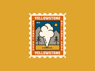 Yellowstone National Park Stamp stamp national park yellowstone badge design camping logo tent camping wood tree retro vintage nature outdoor crest patch badge