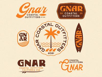 Gnar Coastal Outfitters - Apparel Graphics surfing surf badge logo typography badge design nature vintage branding illustration