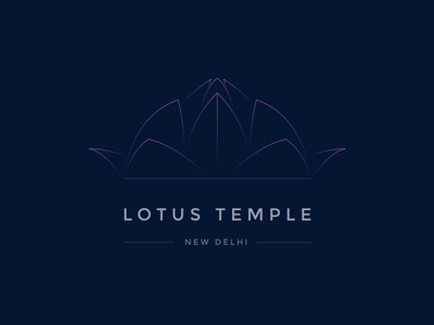 Lotus Temple ui logo india sketch gradient line new delhi city lotus design temple